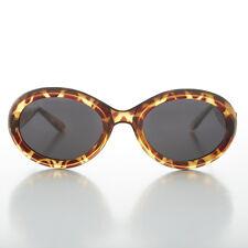 1990s Kurt Cobain Oval Grunge Cat Eye Vintage Sunglasses Tortoise -MACY