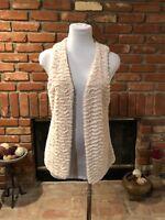 BoHo CHIC Beige Oatmeal Soft Plush Versatile Faux Fur Jacket Vest SM