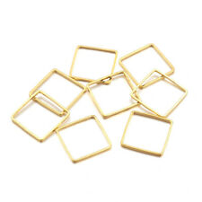 50PC Square Brass Linking Rings Golden 10mm For Jewelry Chains Making