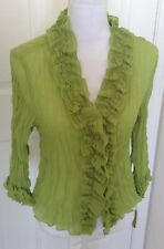 Jaipur Green Ruffled Front Button Blouse - Women's Size M - Romantic Fun Loving