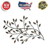 Rustic Tree Leaf Branch Metal Wall Art Sculptures Hanging Home Accent Decor Life