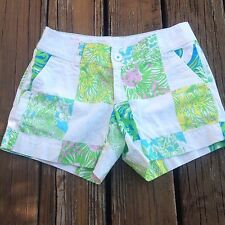 Lilly Pulitzer Patch Callahan Shorts Sz 2 XS Extra Small Floral Jungle Lion EUC