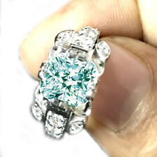 2.44ct vs1/.WHITE GORGEUOUS ICE BLUE CUSHION MOISSANITE-SILVER RING/VIDEO