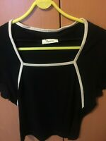 PRECIS LADIES SSHORTSLEEVED TOP, Black with white trim  REDUCED!