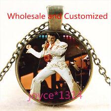 Vintage Elvis Presley Cabochon bronze Glass Chain Pendant Necklace TS-4929