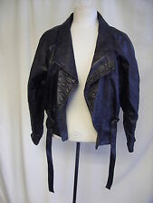 Ladies Leather Jacket Vera Pelle Italy black soft, size XS, tie belt, short 1773