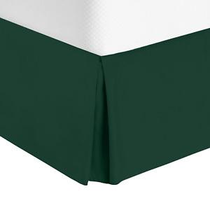 "Luxury Pleated Tailored Bed Skirt - 14"" Drop Dust Ruffle, Full XL - Hunter Green"
