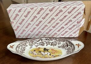 """Spode Woodland Hunting Dogs Handled Bread Tray / Serving Dish NEW W/Box 15.25"""""""