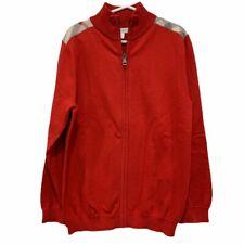 Burberry Children Size 10 Y Red Front Zip Cardigan Nova Check Shoulder Patch