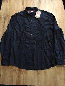 Herren Hemd von Desigual Gr. XXL schwarz mit Stickerei neu mit Etikett langarm