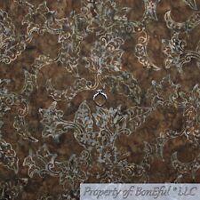BonEful FABRIC Cotton Quilt VTG Brown Tree Bark Batik Pattern Print Bamboo SCRAP