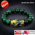 Feng Shui Black Obsidian Alloy Wealth Golden Pixiu Bracelet Lucky Jewelry US Sto