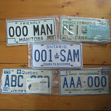 vintage Lot of 5 CANADA Sample License Plates 1990-91 Never Mounted Manitoba NEW