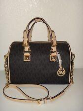 MICHAEL KORS Grayson Black MK Signature Medium Chain Satchel Bag Gold 38F7CGYS2B