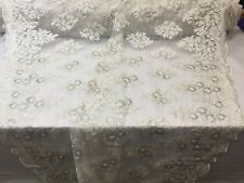 Lace Fabric -Sequins Mesh For Bridal Veil-Wedding Decoration Ivory-Silver 1 Yard