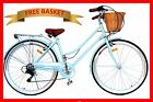 BRAND NEW VINTAGE RETRO LADIES BEACH CRUISER BICYCLE / BIKE BASKET 6 SPEED BLUE