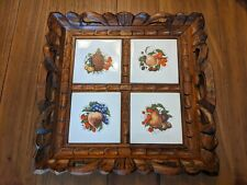 Vintage Hand Carved Handled Wooden Serving Tray With Inlaid Tiles