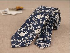 Men Retro Cotton Narrow Skinny Necktie Neck Tie Floral Flower Rose Mens Tie#004