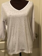 Womens Design History White Top With Sparkly Embellishment Size Missy Large NWT