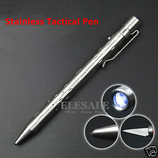 New Stainless Steel Tactical Pen With Led Light Knife Outdoor Camp EDC Tool Gift