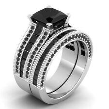 Certified 3.3CT Black Princess Cut Diamond Engagement &Wedding Ring Set 14K Gold