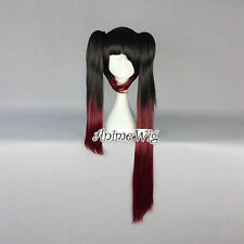 DATE A LIVE Tokisaki Kurumi Black Mixed Red Anime Cosplay Wig + Two Ponytails