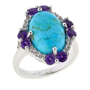 Paul Deasy Gem Kingman Turquoise, Amethyst and White Zircon Ring Size 7 HSN $136