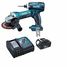 Makita DGA452 18v Grinder, DTD146 Impact Driver + BL1840 Battery and Charger