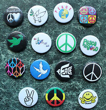 PEACE SIGN 15 BUTTON BADGE COLLECTION 15 x 25mm CND FANCY DRESS  HIPPY  LOVE NOT