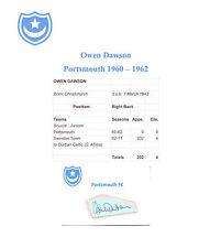 OWEN DAWSON PORTSMOUTH 1960-1962 RARE ORIGINAL HAND SIGNED CUTTING/CARD