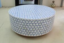 Indian Luxury Bone Inlay Round Coffee Table Triangle Design