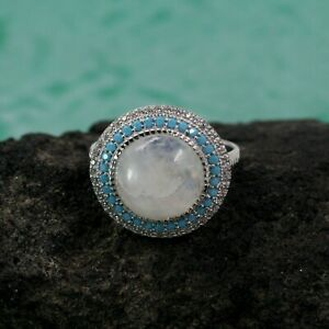 925 Sterling Silver Jewelry Round Moonstone Turquoise CZ Size 9 Ring SR6073