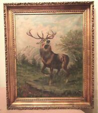antique 19th century original elk deer stag figural landscape oil painting frame