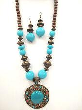 Vintage Bohemian Style Turquoise Blue Pendant Wood Bead Necklace  Earring Set