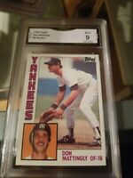 1984 Topps Don Mattingly Rookie Card #8 NY Yankees  GMA 9 Mint Baseball RC