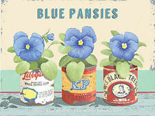 Blue Pansies, Vintage Flower Home Garden Kitchen Bathroom, Mini Metal Tin Sign