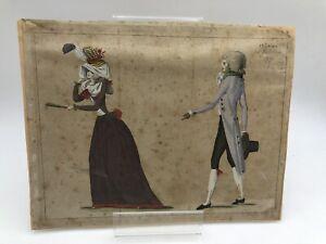Deux dessins aquarellés de costumes révolutionnaires avec quatre sujets.1790