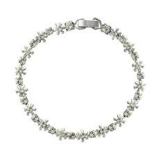 White Gold Filled Daisy Flower Clear CZ Zirconia Crystal Tennis Bracelet UK B37