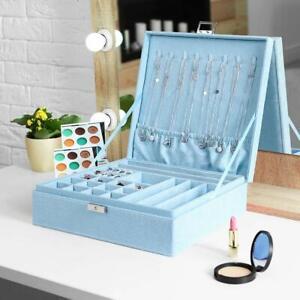 Jewelry Box Organizer Two-Layer Lint Jewelry Display Storage Case with Lock-Blue
