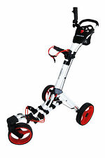 Founders Club Swerve 360 Swivel Qwik Fold 3 Wheel Golf Push Cart Trolley White