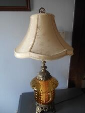 1970 Lrge EF & EF Industries Amber Glass Acorn Style W Diffuser Table Lamp 3 Way