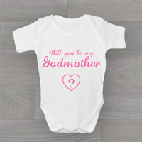 Will you be my Godmother? Cute Baby Grow Body Suit Vest, Choose Colour Text