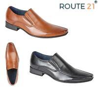 MENS SMART Slip On Loafers - Black Tan Tramline Shoes - Size 6 7 8 9 10 11 12 13