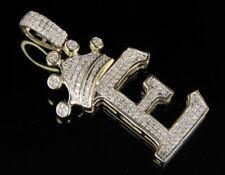 Letra Inicial E Corona Diamante Personalizado Colgante en 10k Oro Amarillo