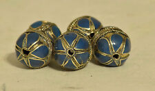 Beads Middle Eastern Lapis Blue Brass Round Beads 5 Lot