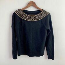 Lauren Ralph Lauren Silk Cashmere Black Sweater Gold Metallic Neck Petite Medium