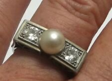 Antique Diamond Platinum Ring 18ct Gold Pearl Band