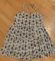 Womens Black White A line Cover up Dress Spaghetti Strap Open Back Size XS