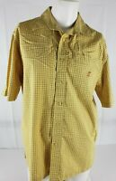 Walt Disney World Mickey Mouse Men's Med Yellow Shirt Checks Embroidered BF SS