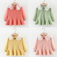 Toddler Baby Kids Girls Dress Long Sleeve Ruched Ruffles Lace Casual Dress 3Y AU